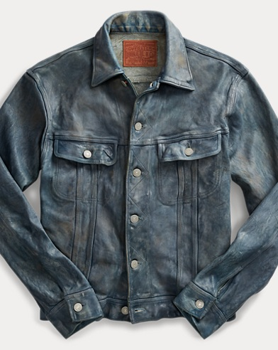 Indigo-Dyed Leather Jacket