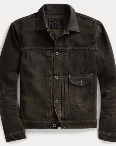 Leather-Trim Selvedge Jacket