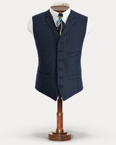 Striped Stretch Wool Vest