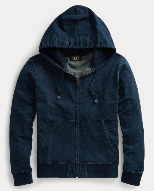 Indigo Cotton Hoodie by Ralph Lauren