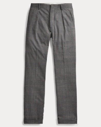 Slim Plaid Wool Suit Trouser