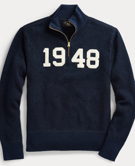 Indigo Cotton Half-Zip Sweater