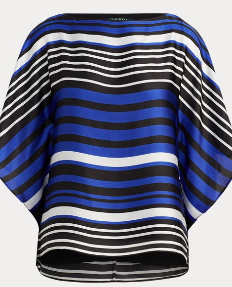 Striped Satin Dolman Top