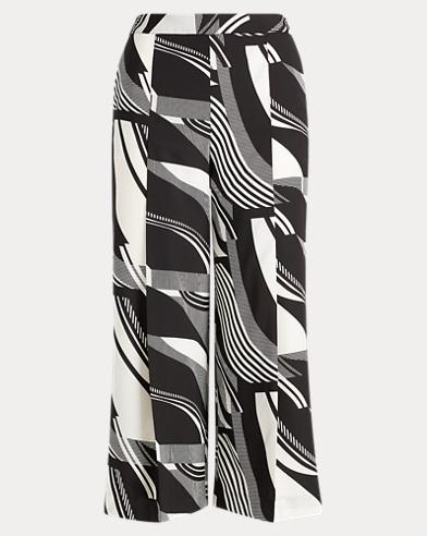 Print Crepe Wide-Leg Pant