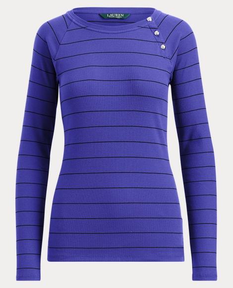 Striped Button-Trim Shirt