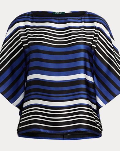 Striped Dolman Satin Blouse