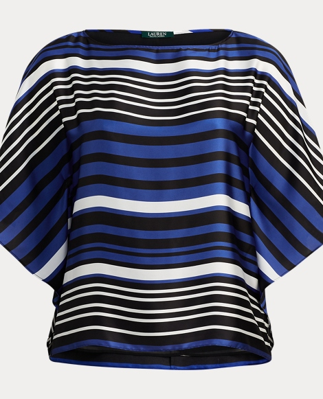 Striped Dolman Satin Blouse