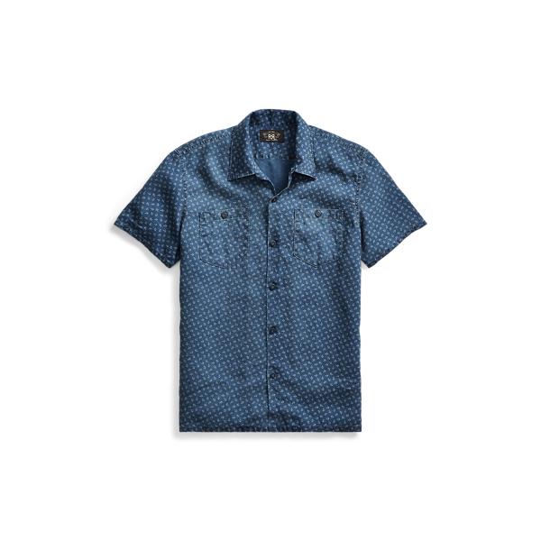 Ralph Lauren Anchor-Print Linen Camp Shirt Rl 988 Blue Cream Xs