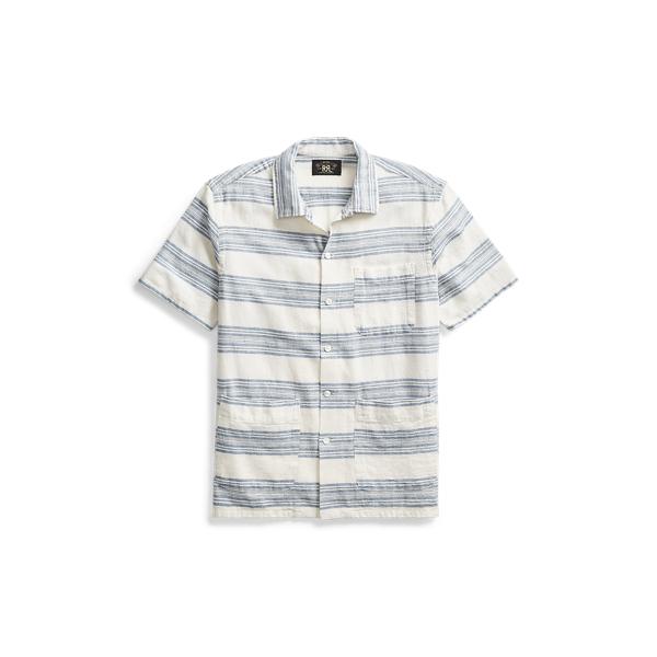 Ralph Lauren Cotton-Linen Camp Shirt Rl 989 Cream Indigo S