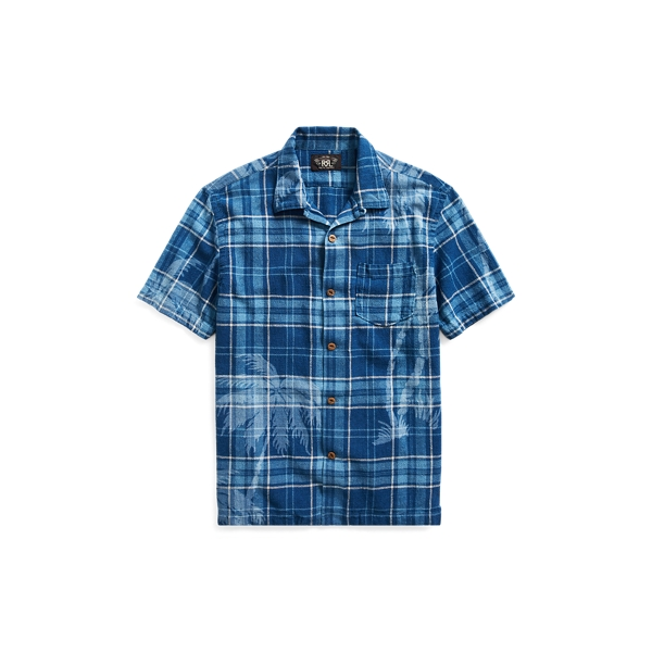 Ralph Lauren Indigo Cotton-Linen Camp Shirt Rl 994 Dark Indigo M