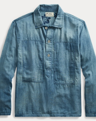 Indigo Cotton Popover Shirt