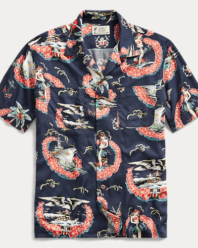 Tropical-Print Camp Shirt
