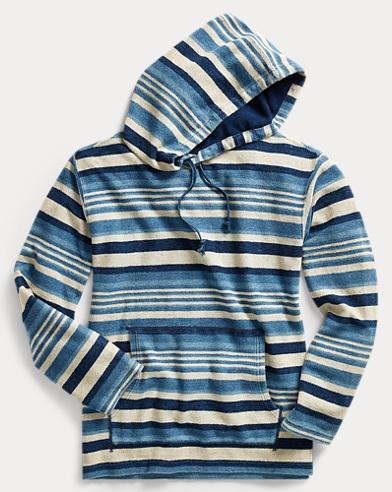 Striped Indigo Cotton Hoodie