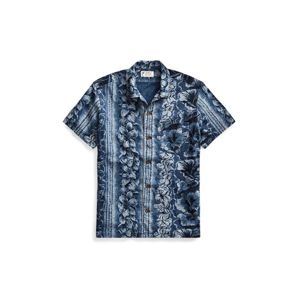 Ralph Lauren Indigo Cotton Camp Shirt Rinsed Blue Indigo Xxl
