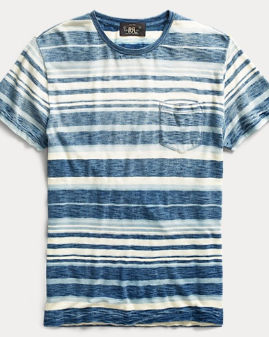 Indigo Striped Cotton T-Shirt
