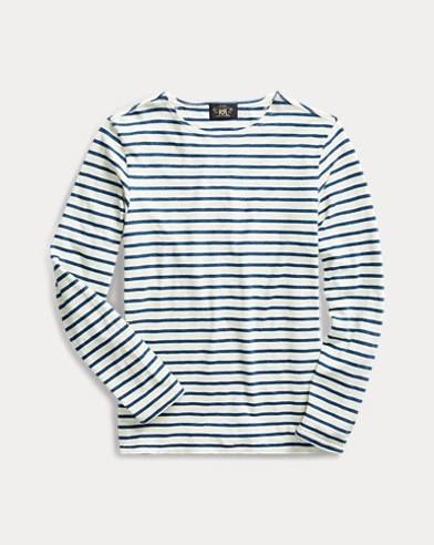 Striped Indigo Cotton T-Shirt