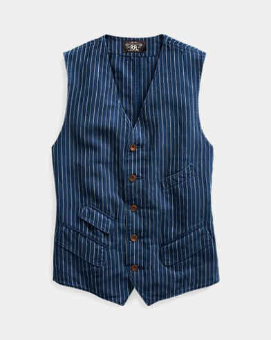 Striped Cotton-Linen Vest