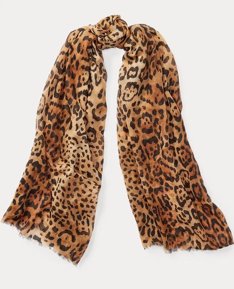 Leopard Wool-Cashmere Scarf