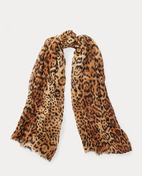 Leopard Wool-Cashmere Scarf