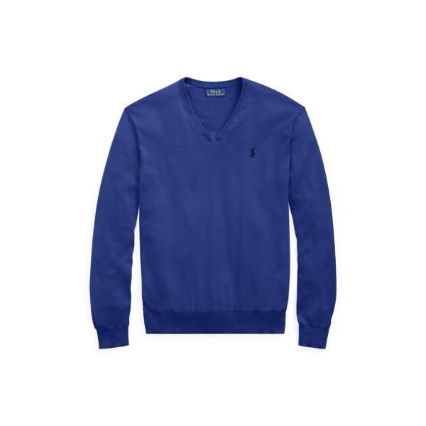 Ralph Lauren Cotton V-Neck Sweater Fall Royal S