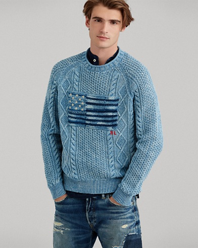 Indigo Flag Cotton Sweater