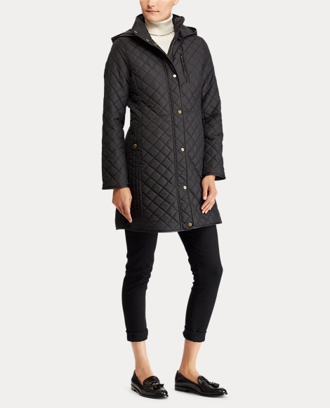 Faux-Leather-Trim Quilted Coat