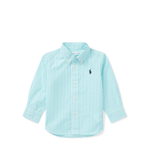 Ralph Lauren Striped Stretch Cotton Shirt Turquoise Multi 12M
