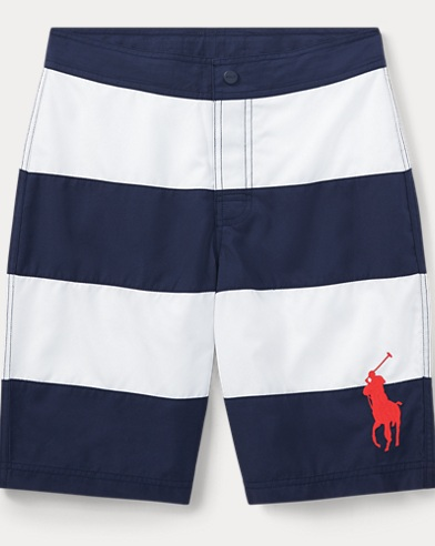 Striped Twill Swim Trunk
