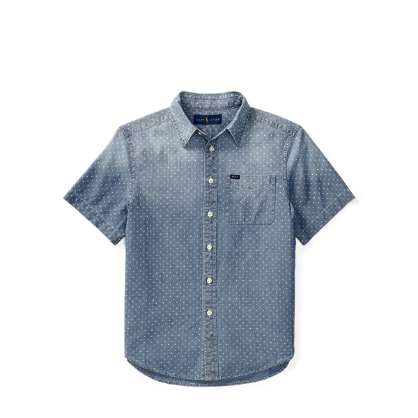 Ralph Lauren Star Cotton Chambray Shirt Blue Star Multi L