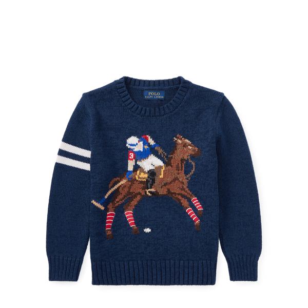 Ralph Lauren Cotton-Blend Graphic Sweater Chateau Navy 2T
