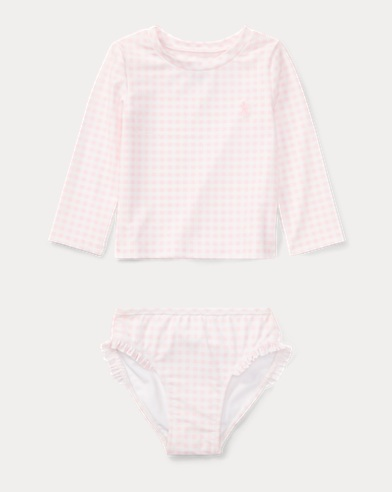 Gingham Rash Guard Set