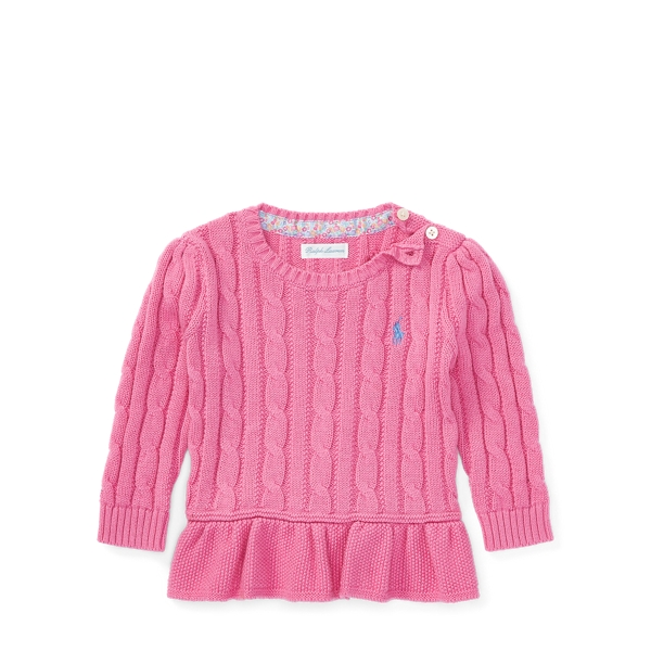 Ralph Lauren Cable Cotton Peplum Sweater Hammond Pink 3M