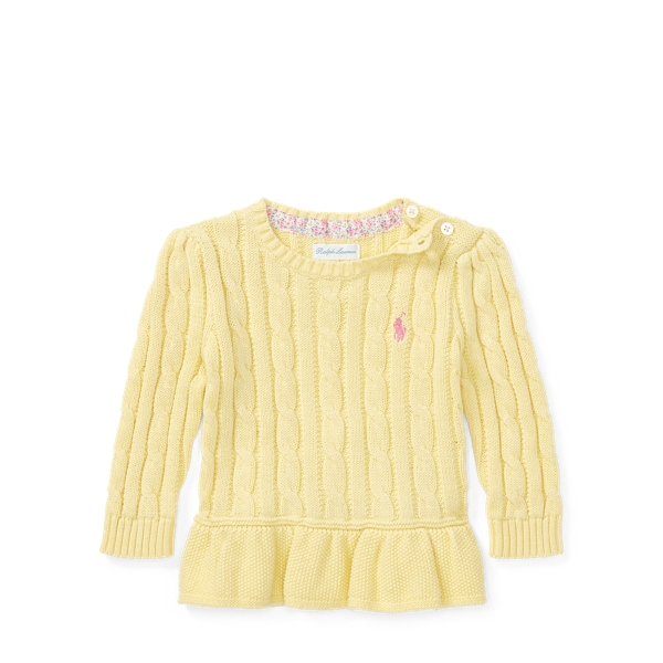 Ralph Lauren Cable Cotton Peplum Sweater Wicket Yellow 3M
