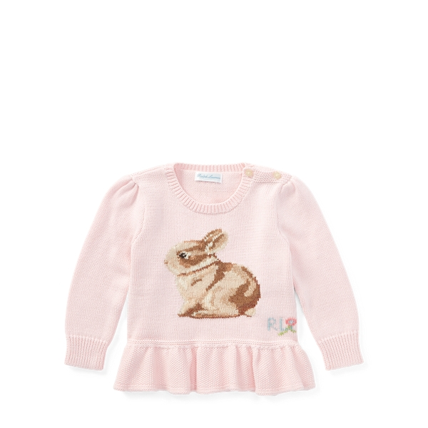 Ralph Lauren Bunny Cotton Peplum Sweater Hint Of Pink 9M