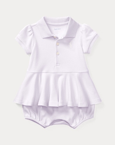Cotton Peplum Polo Romper