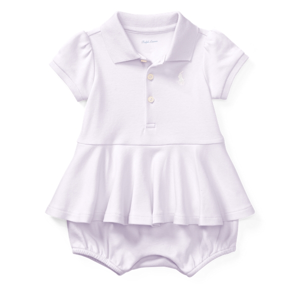 Ralph Lauren Cotton Peplum Polo Romper Summer Lilac 3M