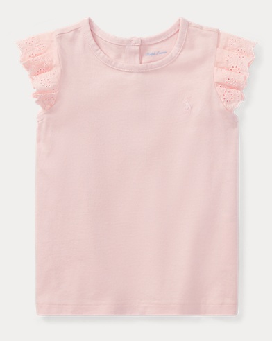 Eyelet Flutter-Sleeve T-Shirt