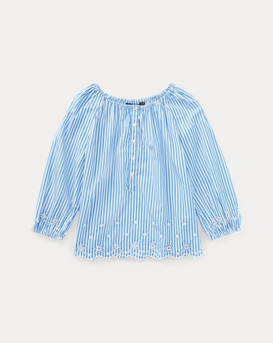 Striped Eyelet Cotton Top