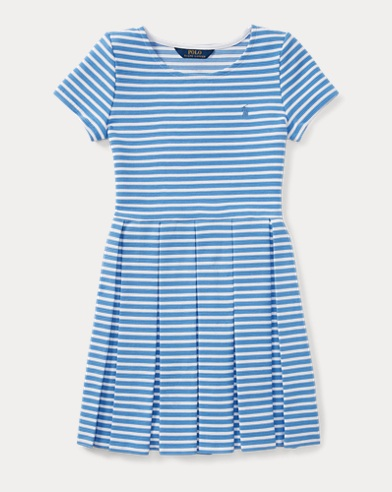 Striped Pleated Ponte Dress
