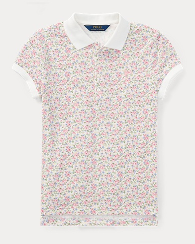 Floral Stretch Mesh Polo Shirt
