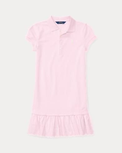 Eyelet-Hem Mesh Polo Dress