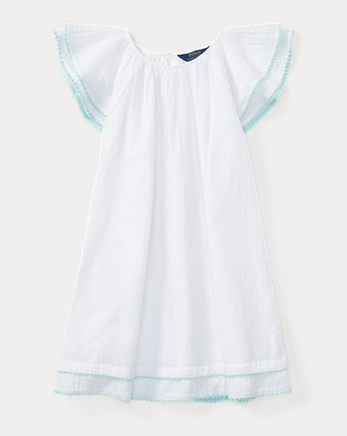 Cotton Flutter-Sleeve Dress