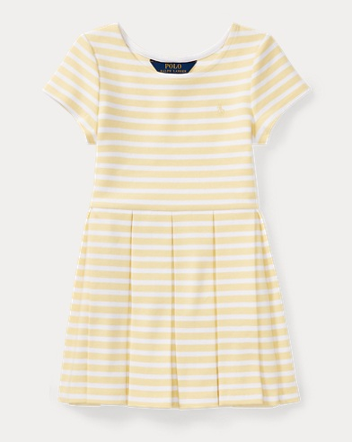 Striped Ponte Pleated Dress
