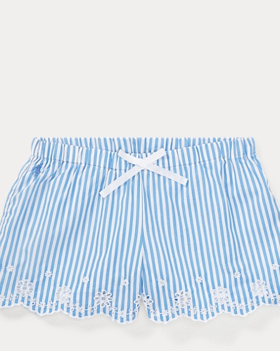 Striped Floral Poplin Shorts