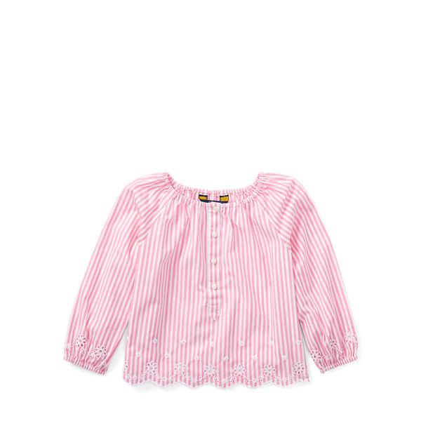 Ralph Lauren Striped Cotton Eyelet Top Pink/White 6X