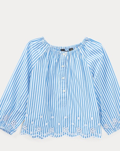 Striped Cotton Eyelet Top