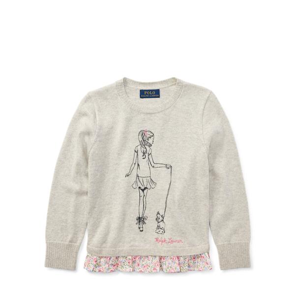 Ralph Lauren Ruffled Cotton Graphic Sweater Light Sport Heather 5