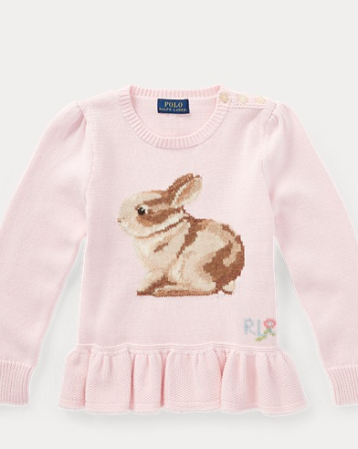 Bunny Cotton Peplum Sweater