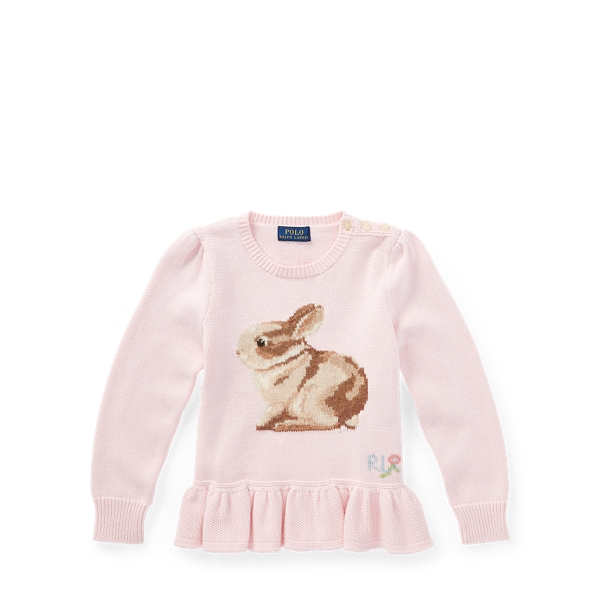 Ralph Lauren Bunny Cotton Peplum Sweater Hint Of Pink 2T