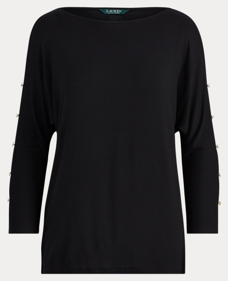 Button-Sleeve Jersey Top
